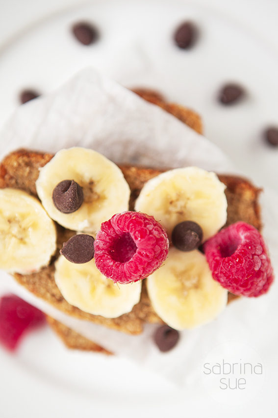 banana bread with raspberries