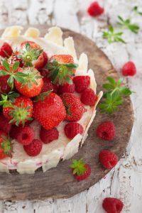 Erdbeer-Himbeer Käsesahnetorte