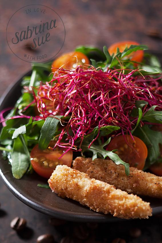 Rucola Salat an Kaffee Vinagrette