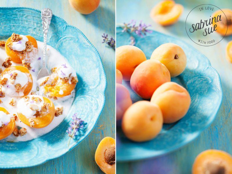 gebackene Aprikosen mit Amaranth Macadamia Crunch