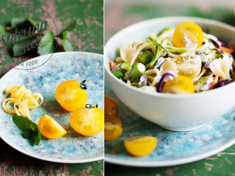 Bunter Gemüse Nudelsalat mit Milram