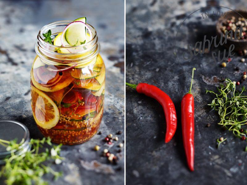 Scharfe Zucchini süß sauer eingelegt