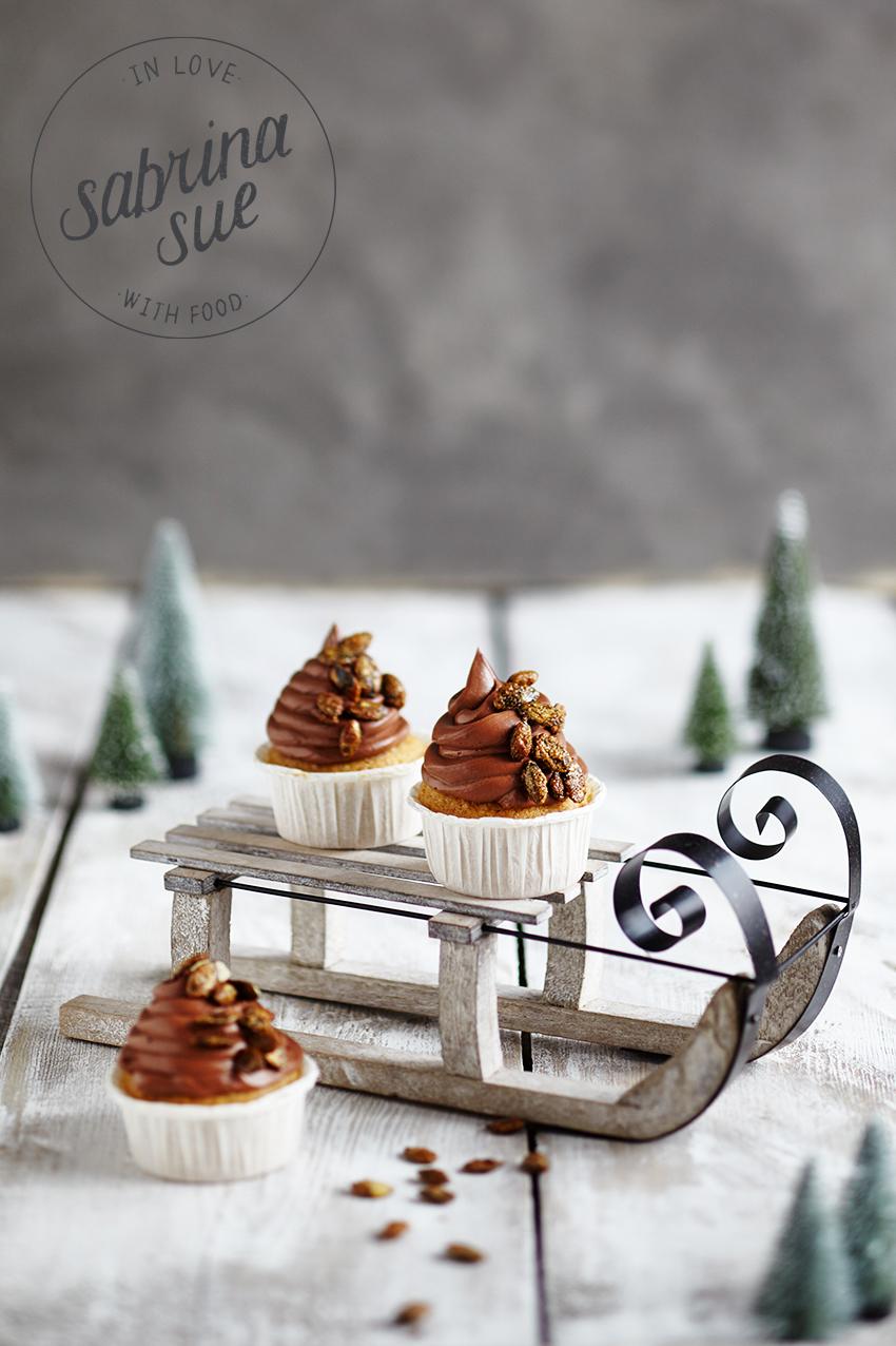 Maronen Cupcakes mit gerösteten Kürbiskernen