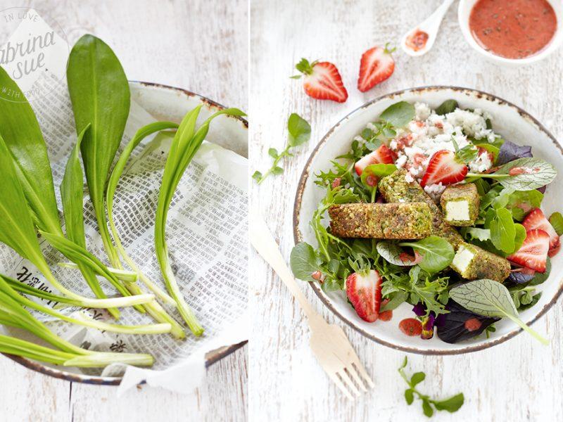 Bärlauch-Feta-Sticks-Erdbeer-Wildkräutersalat