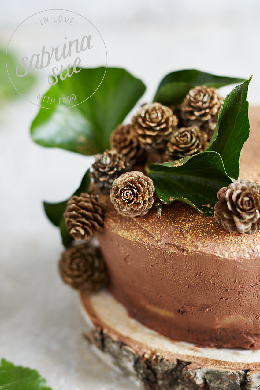 Roasted Apple Marshmallow Chocolate Cake