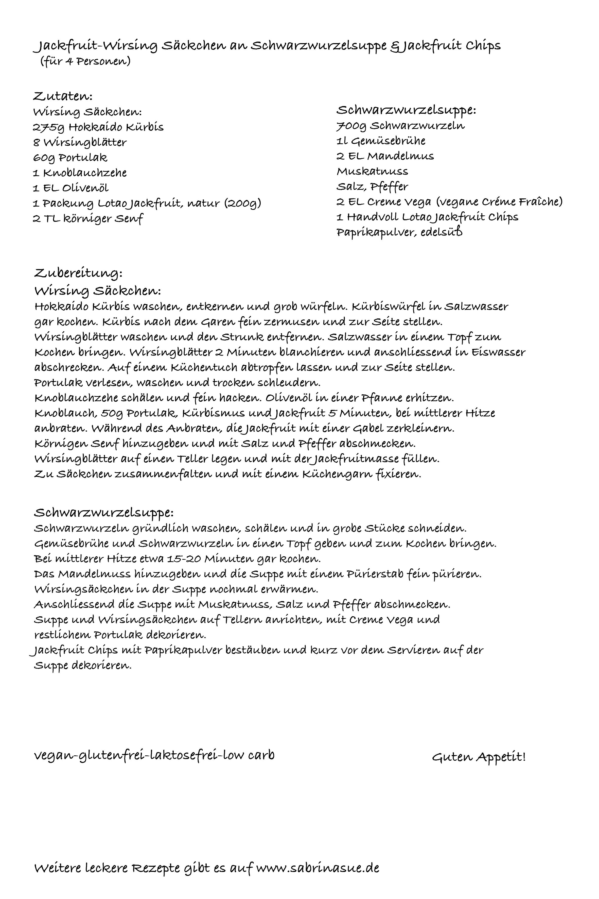 Jackfruit-Wirsing Säckchen an Schwarzwurzelsuppe