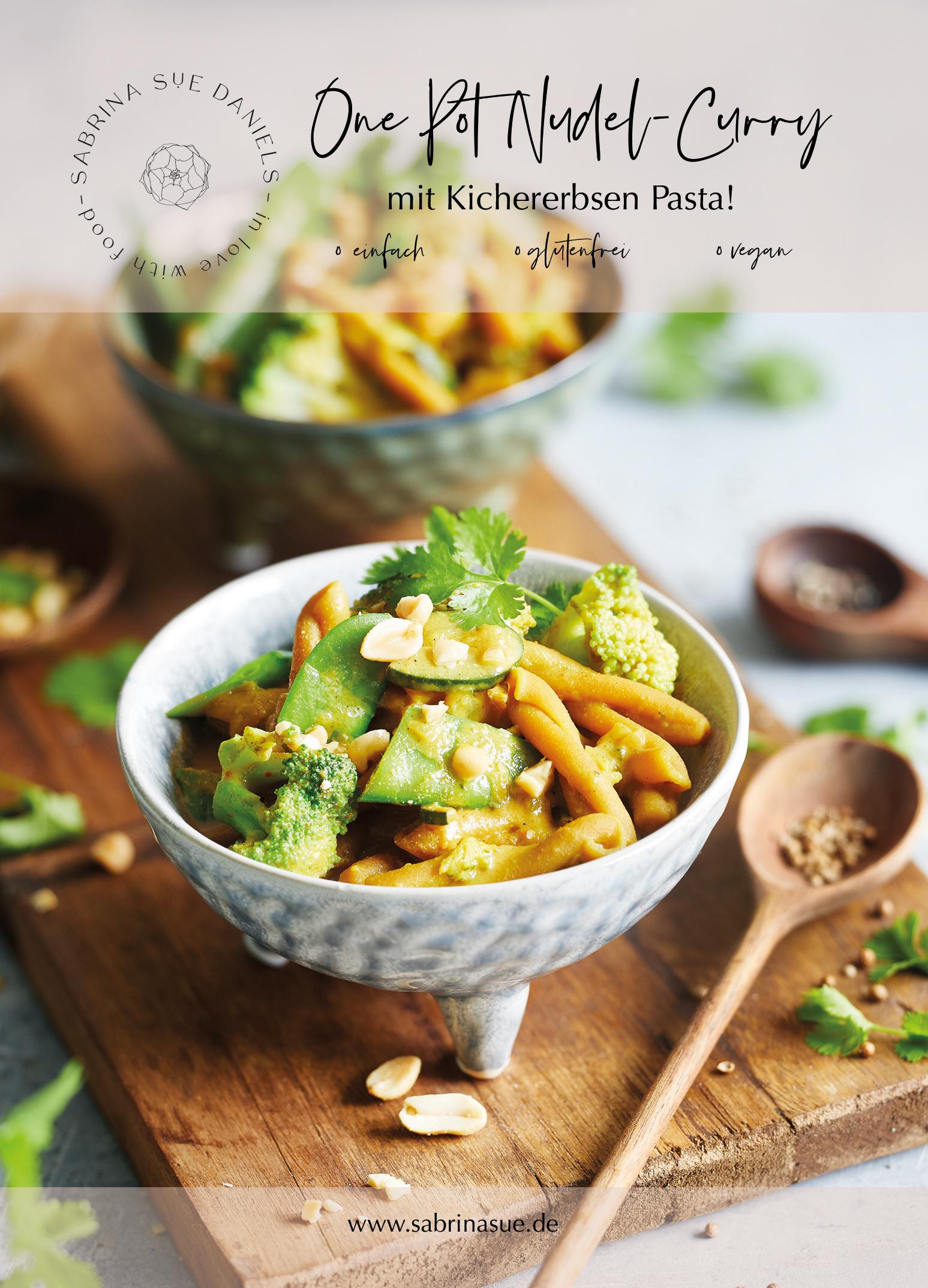 One Pot Past mit Curry und Kichererbsen Nudeln