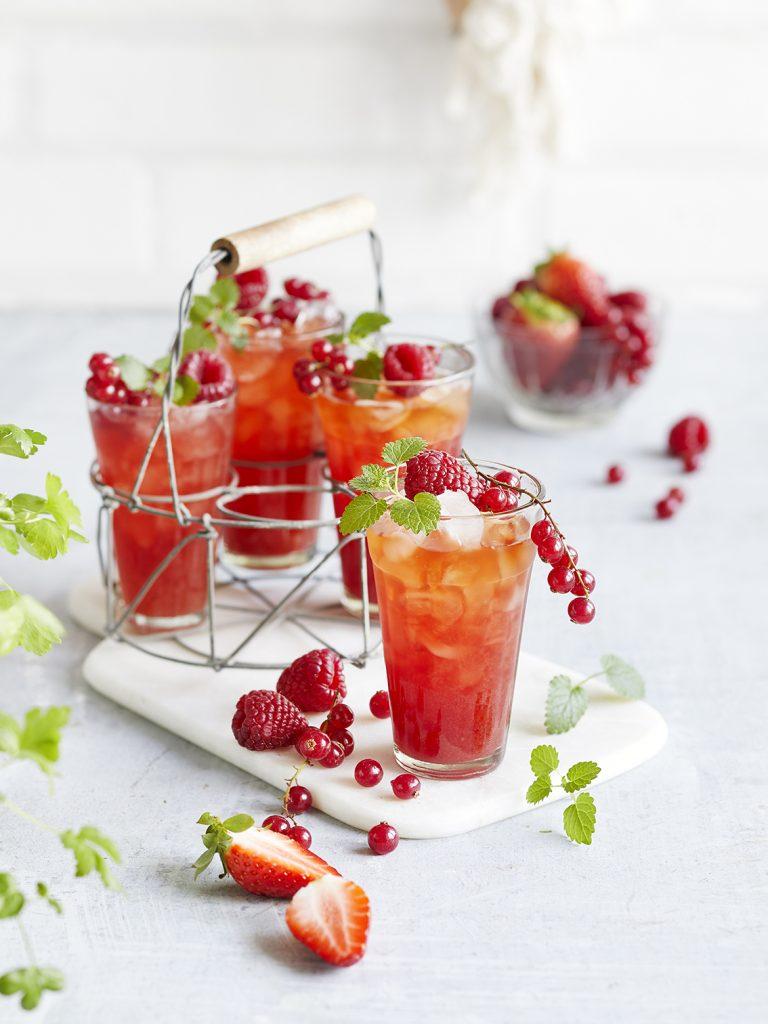 Ingwer-Himbeer Granatapfel Eistee