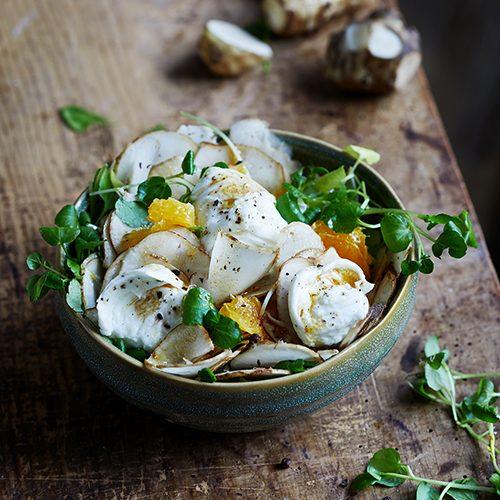 Foodstyling für Brunnenkresse Topinambur Salat