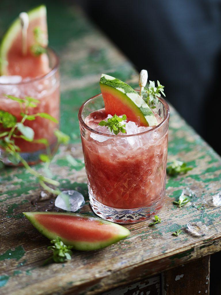 Wassermelonen-Basilikum Bowle