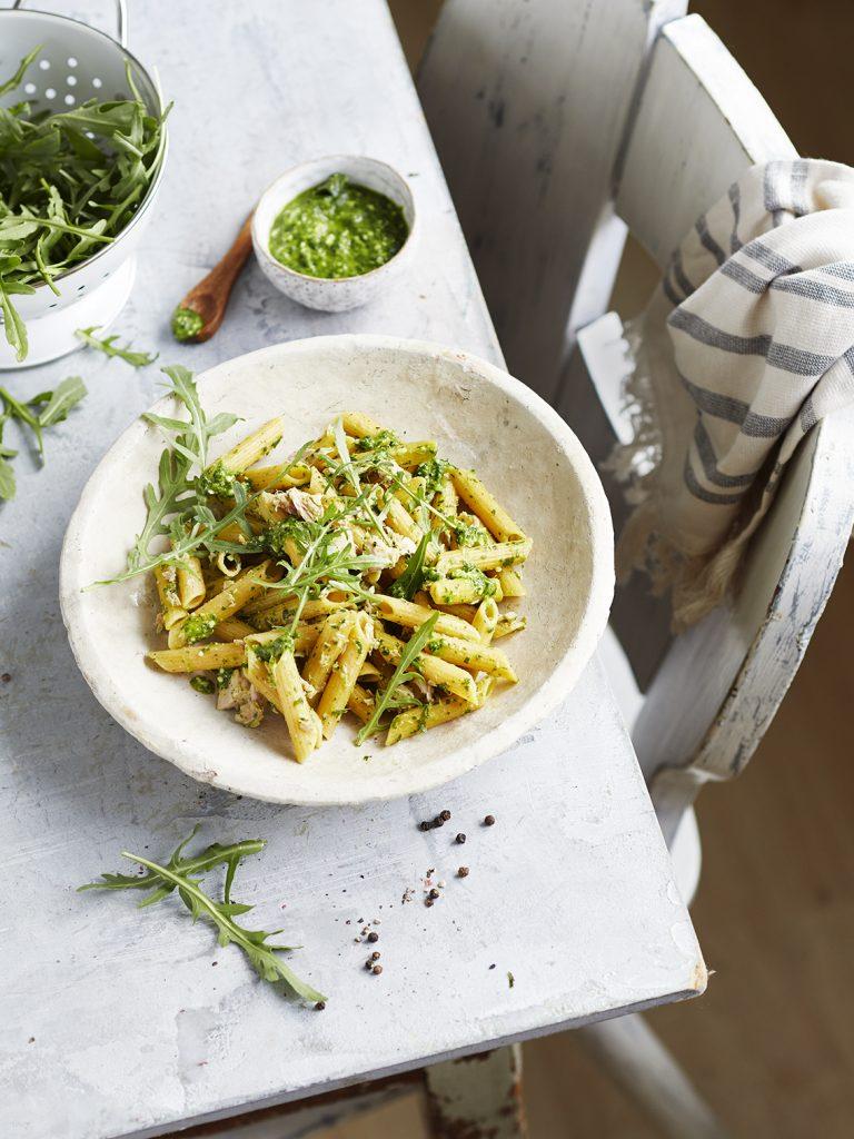 Foodfotografie und Foodstyling für Thunfisch-Rucola Penne