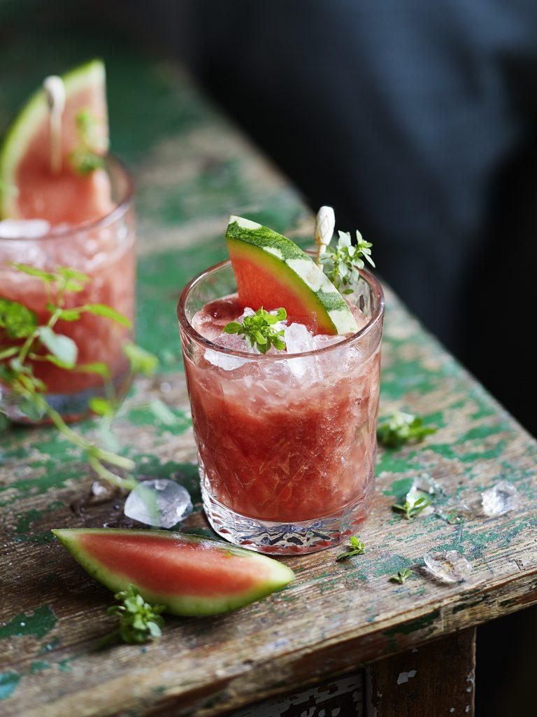 Foodfotografie für Wassermelonen-Basilikum Cocktail
