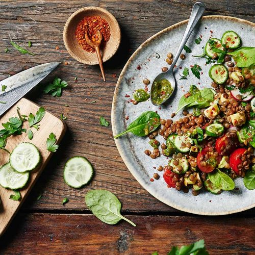 Lentils Salad with wild garlic pesto